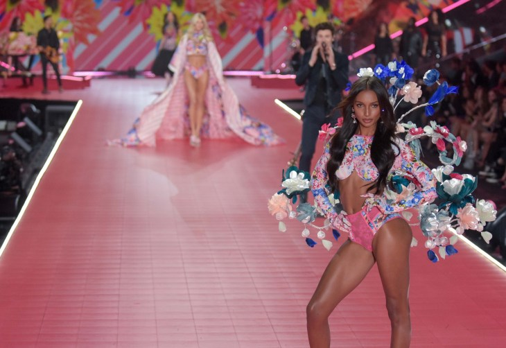 Jasmine Tookes modeling at the Victorias's Secret Fashion Show 2018