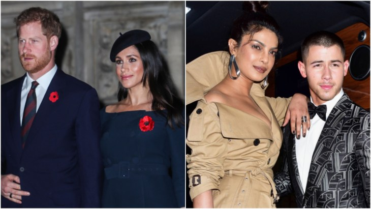 Prince Harry and Meghan Markle at the 2018 Armistice service and Priyanka Chopra and Nick Jonas leaving the Carlyle Hotel to attend the 2017 Met Gala