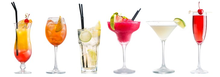 Row of cocktails against a white background