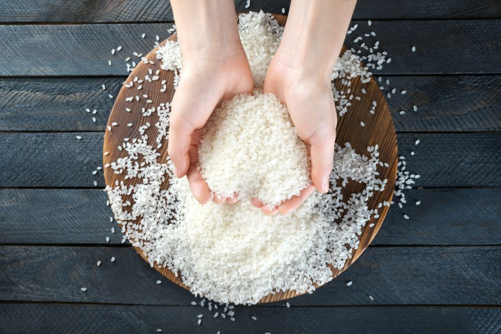 Person holding a pile of rice in both hands