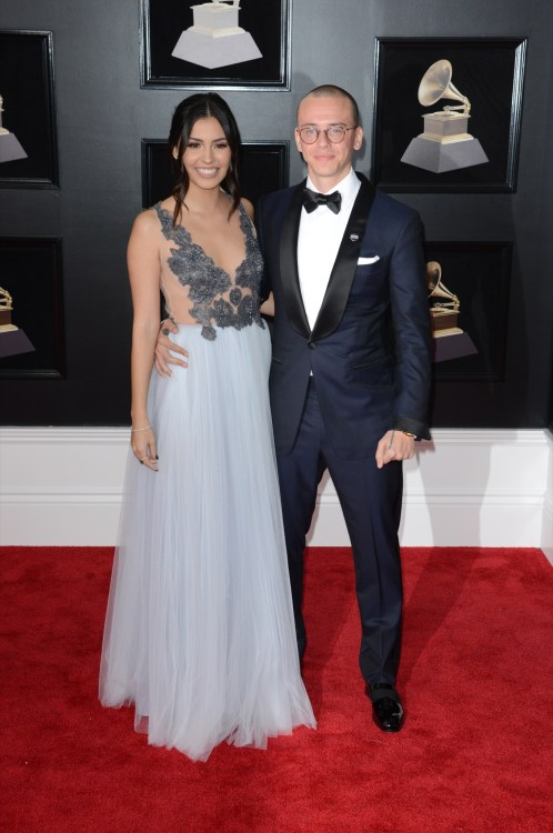 Logic and wife Jessica Andrea at the 60th Grammy Awards 2018