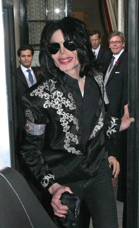 Michael Jackson leaving his hotel before announcing a residency at the O2 Arena
