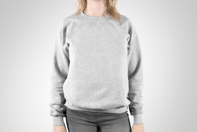 Girl in plain sweater and pants