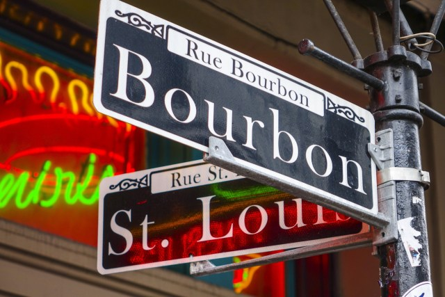 Sign at the corner of St. Louis and Bourbon St. in New Orleans, Louisiana