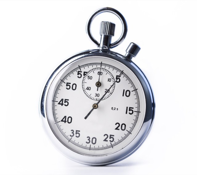 Silver stopwatch against white background