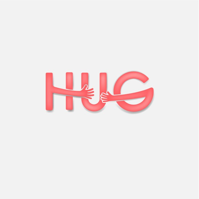"""HUG"" with arms hugging the word"