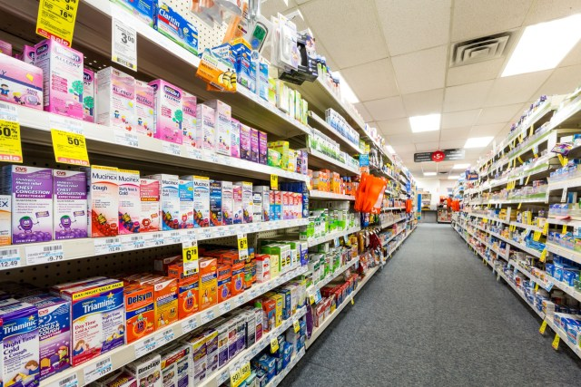 Aisle in a CVS pharmacy. CVS is the second largest pharmacy chain in the United States with more than 7,600 stores and ranked as the 13th largest company in the world