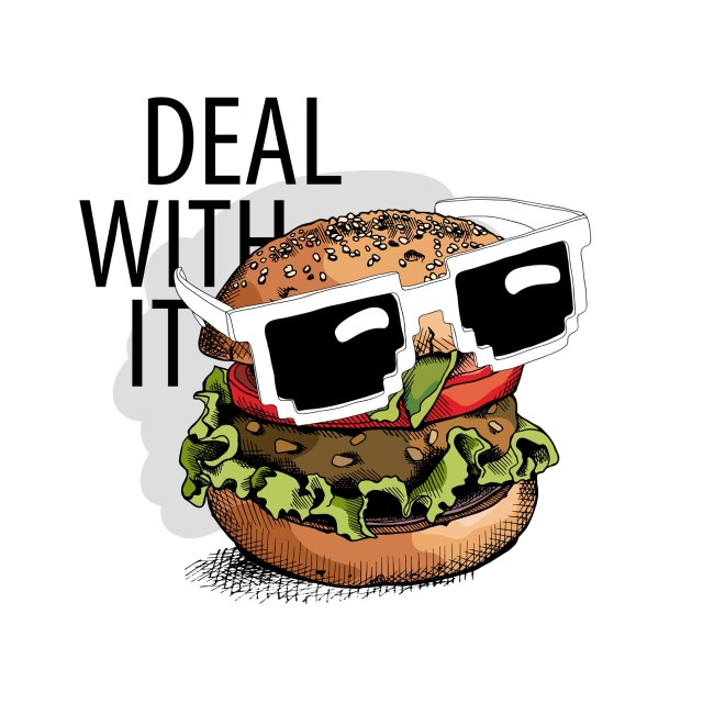 Deal With It saying with hamburger wearing cool glasses.