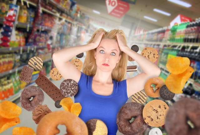 Hungry women in grocery store