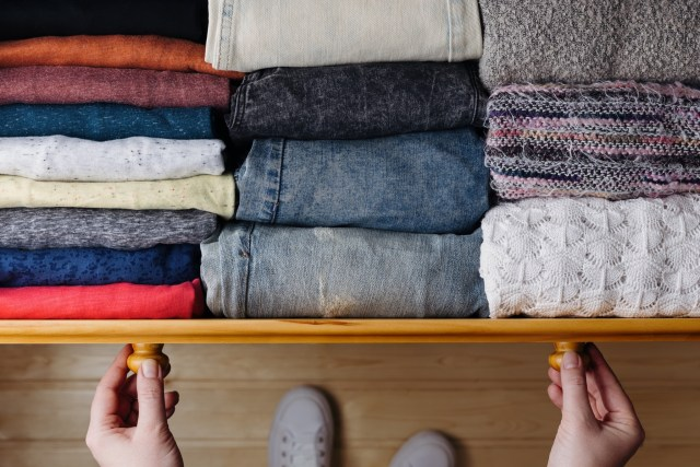 Rolled clothes in drawer