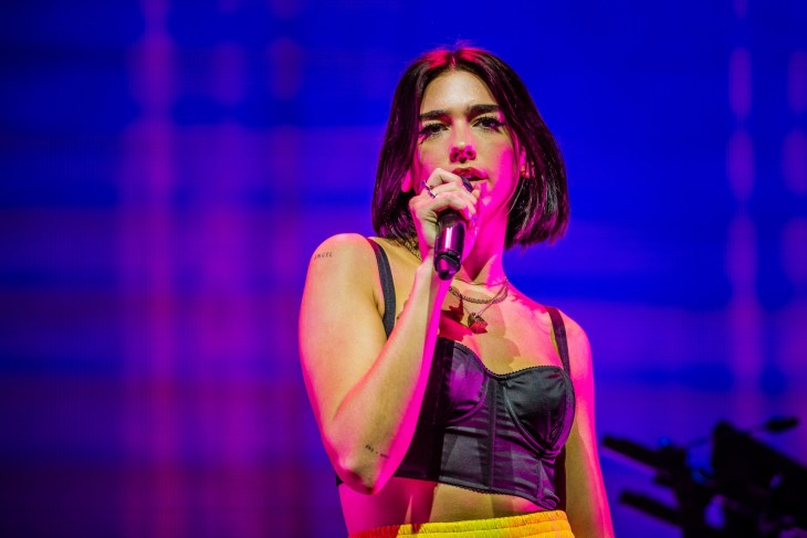 Dua Lipa at the Campingflight to Lowlands Paradise Festival in Biddinghuizen, The Netherlands.