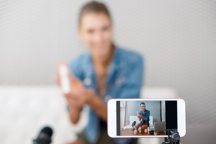 Woman Filming Youtube Video