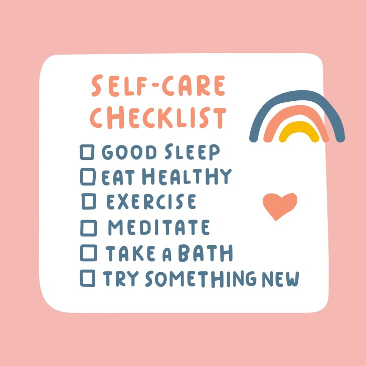 Self-care checklist. Hand drawn vector illustration on pink background