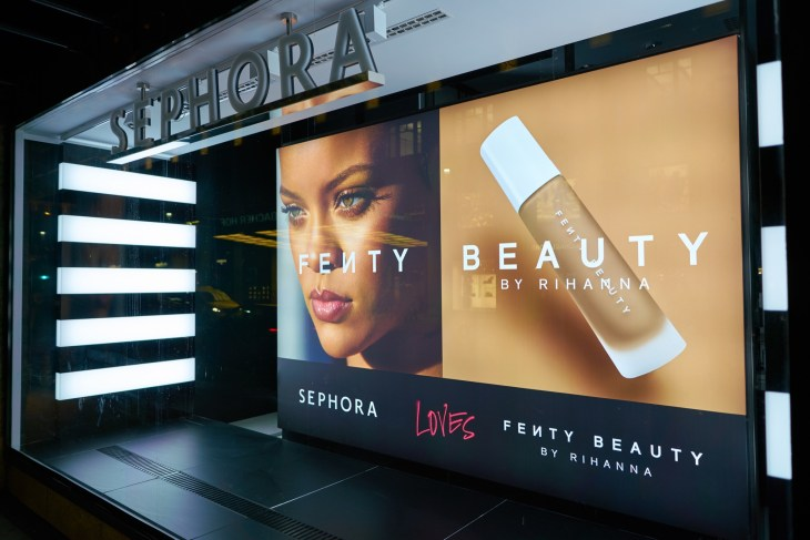 Sephora Store Front Featuring Fenty Beauty By Rihanna Ad