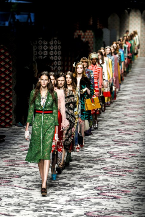Models walk the run way for finale of spring/summer Gucci fashion show Milan 2016