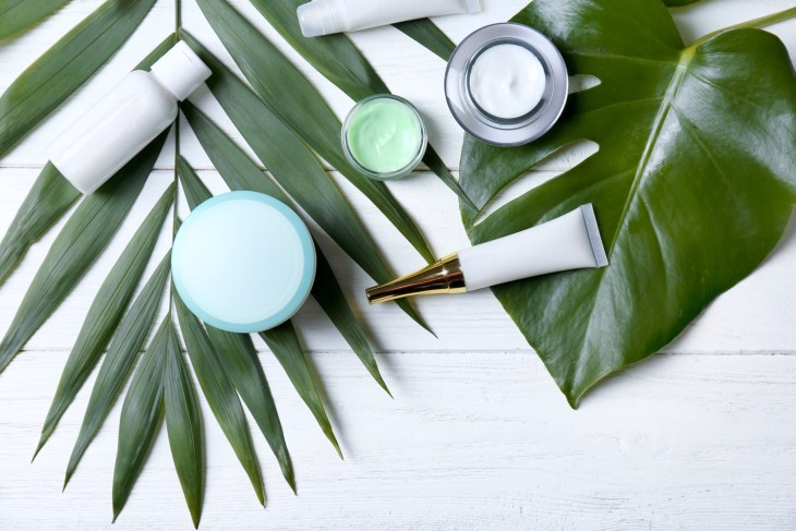 Variety Of Skincare Products Among Palm Leaves