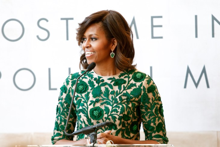 Michelle Obama speaking at an event.