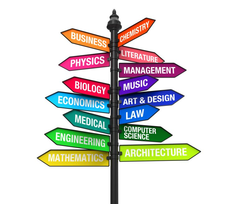 Multiple signs with different colors saying business, chemistry, literature,physics, managment, music, and biology.