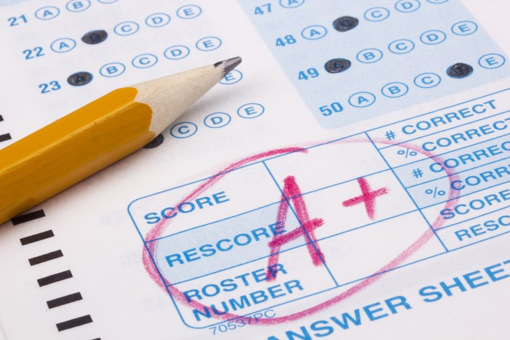 It is the bottom corner of a scantron test with an A+ and a pencil.
