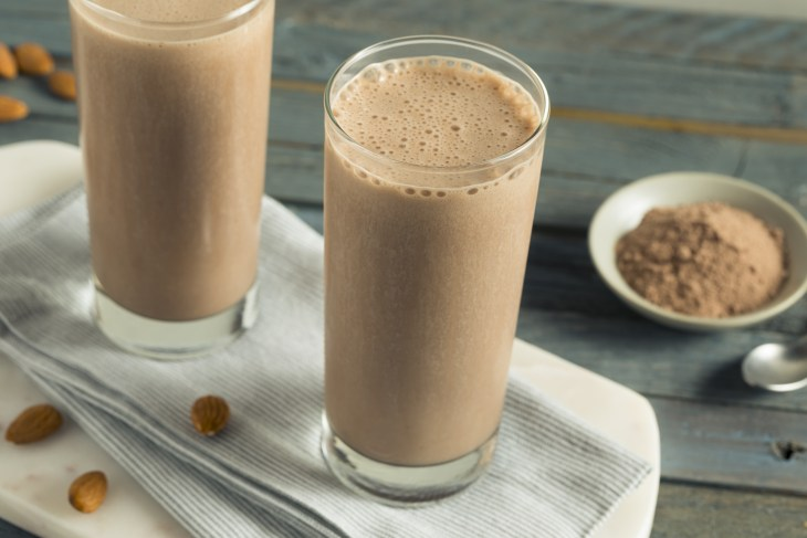 Two glasses of a protein shake.