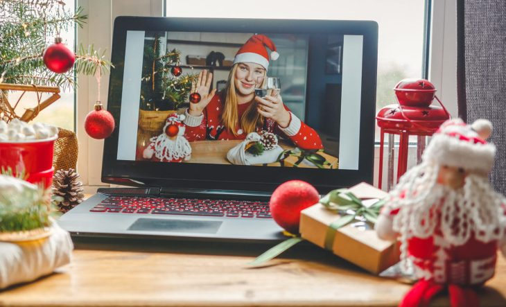 A girl on facetime for a holiday celebration.