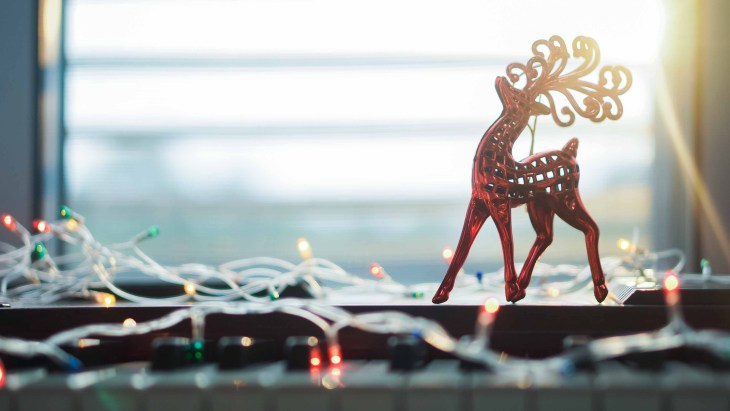 Holiday lights with a reindeer.