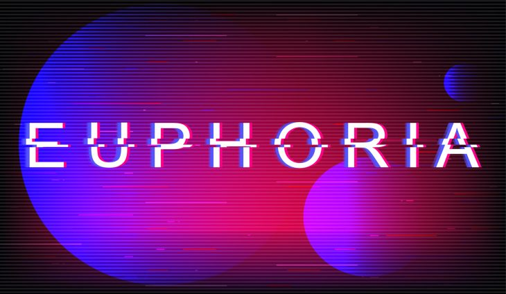 Gradient filter of blue, purple, and pink with glitch lettering of the word Euphoria.