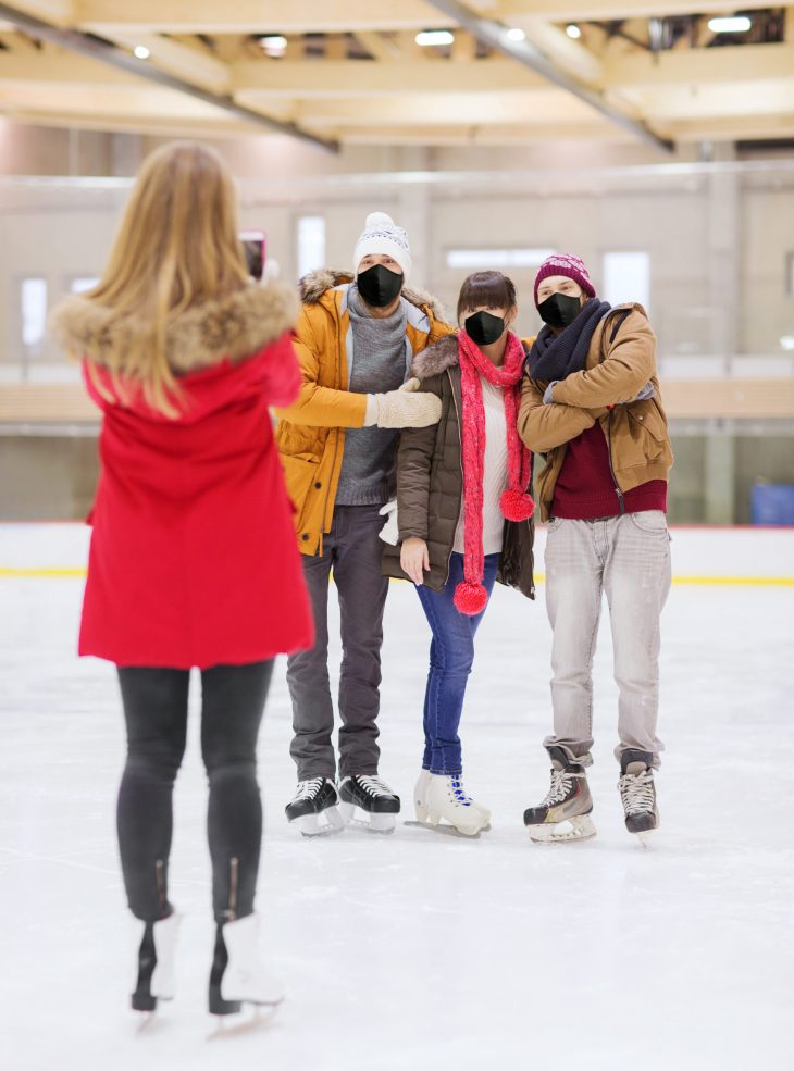 masked photo on ice rink