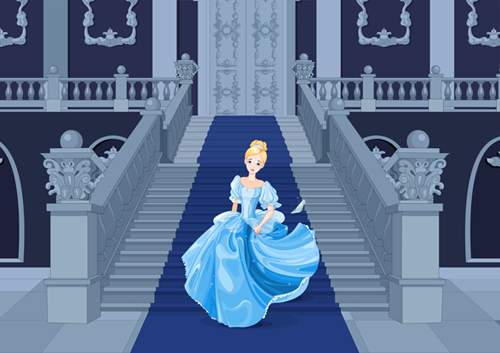 Illustration of Cinderella going down the stairs