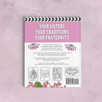College Coloring Books Gamma Phi Beta Coloring Book Cover - Back