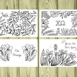 Set of 12 Chi Omega Coloring Notecards