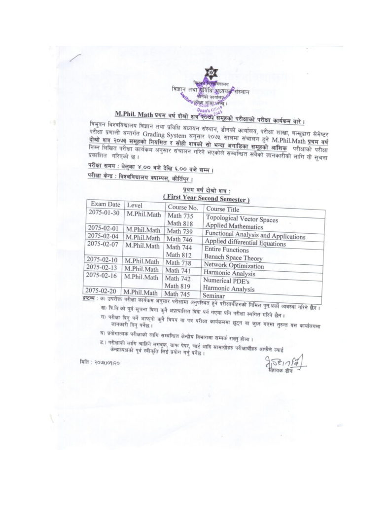 M.Phil. Math II Semester Exam routine 2075 published