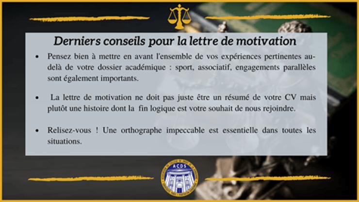 Conseils pour la lettre de motivation du fait de la mise à jour du parcours d'admission