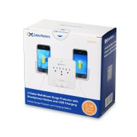 Wall Mount Surge Protector with USB Plugs & Phone Holder ...