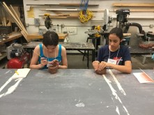 Students working on their first day Clay projects.