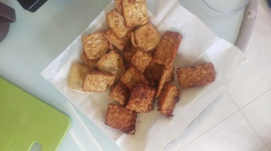 Fried tofu and tempe