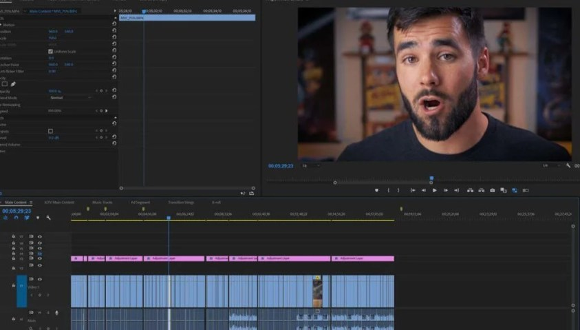 Video editing in Adobe Premiere Pro