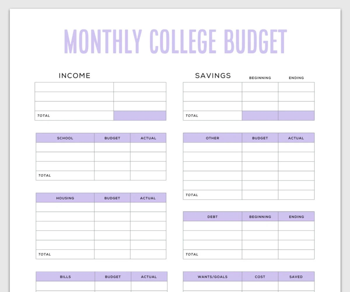 Simple Budget Template For College Students Free