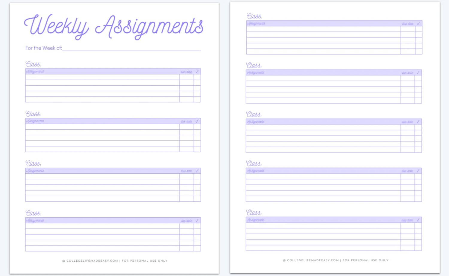 Printable Homework Planner Template For College Students