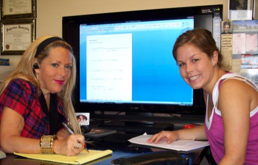 Rachel Winston with her student.