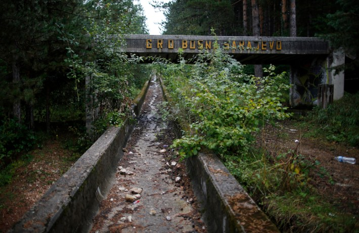 The disused bobsleigh track from the Sarajevo 1984 Winter Olympics is seen on Mount Trebevic, near Saravejo