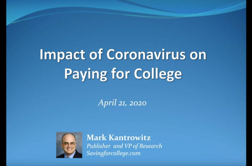 Impact of Coronavirus on Paying for College (Webinar w Mark)