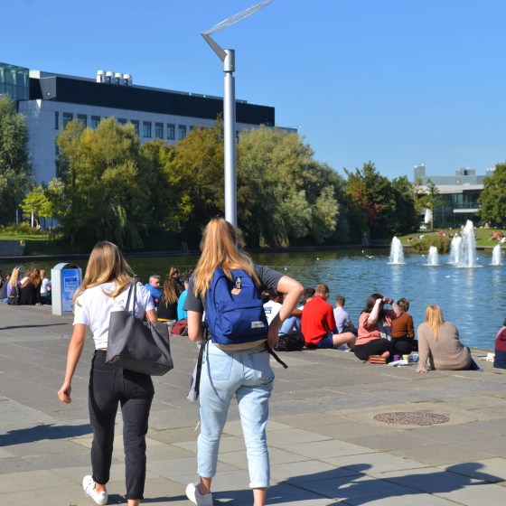lake shot UCD Students