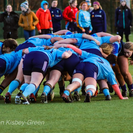 UCD Women's rugby scrum vs DCU