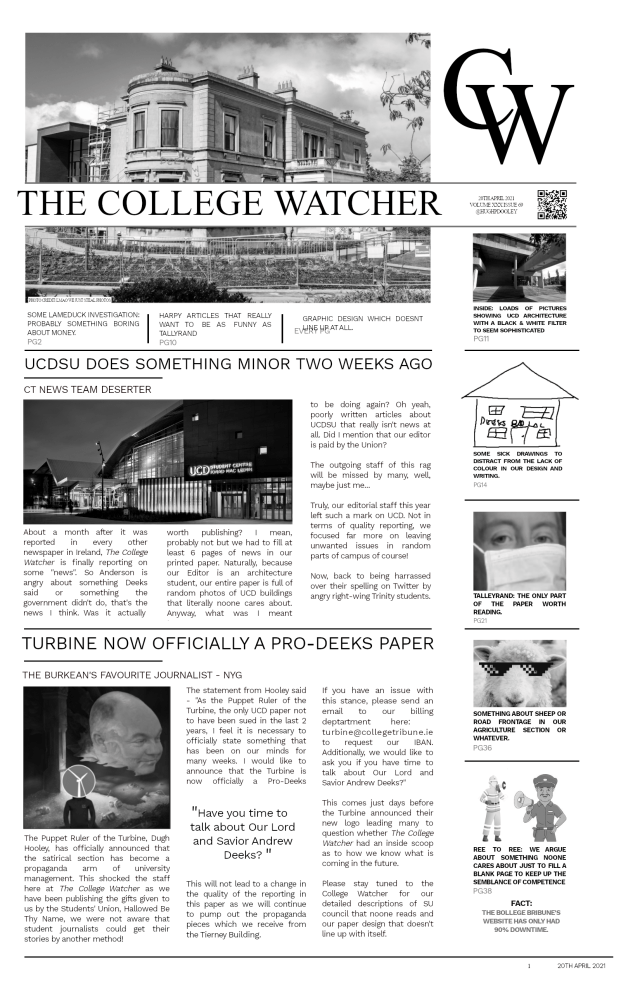 The College Watcher Image Designed by Hugh Dooley
