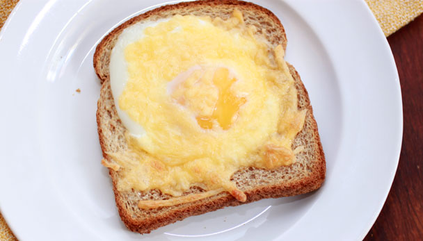 Cheesy Egg Toast with gouda, via CollegiateCook.com
