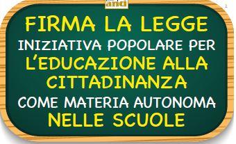 PROPOSTA DI LEGGE PER L'EDUCAZIONE ALLA CITTADINANZA NELLE SCUOLE: C'È TEMPO FINO AL 14 DICEMBRE PER FIRMARE