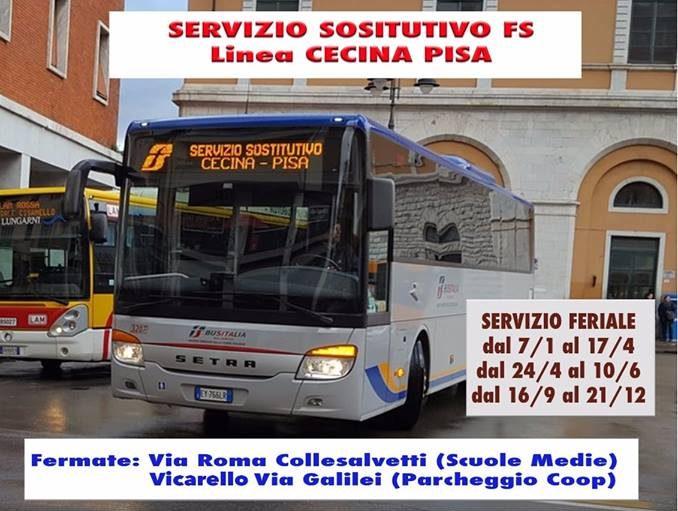 IL SERVIZIO SOSTITUTIVO FS DELLA LINEA CECINA-PISA FERMERÀ ANCHE A COLLESALVETTI (OLTRE A VICARELLO)
