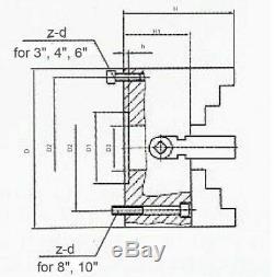 4/100 mm 4-Jaw Independent Lathe Chuck, Plain Back, #0557-0004