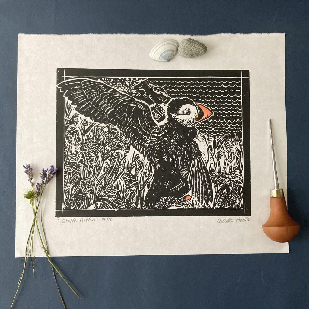 puffin linoprint